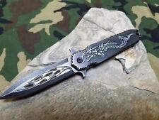 Dark Side Folding Knife Fantasy A/O Dragon Flame Black Stonewashed Pocket a028sl