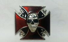 Red Iron Cross w/ Skull Brushed Stainless Steel Belt Buckle New