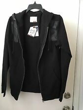 Sovereign Code Black Faux leather Hoodie Jacket  Large NWT