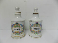Vintage Chase Porcelain Cologne & Peroxide Vanity Apothecary Jars Floral & Gold