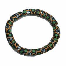African Beads Recycled Glass Krobo Charcoal Green Gold 18 mm Beautiful!!!