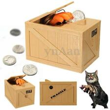 Cute Kitty Cat Paw Stealing Money Coins Cents Saving Box Pot Piggy Bank Kid Gift