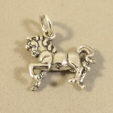.925 Sterling Silver 3-D PRANCING HORSE CHARM NEW Pony Walking Pendant 925 HS32