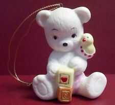 Vintage Sitting Baby Bear Ceramic Christmas Ornament - White with Pink Diaper