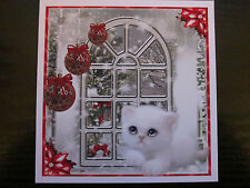 2 x Cute Christmas White Kitten by the window Ready To Use Cardmaking Toppers