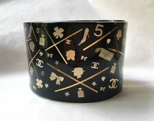 CHARMING CHANEL 06A BLACK RESIN GOLD ICONIC COCO No5 SYMBOLS CUFF BRACELET