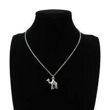 """Silver Alloy Animal Single Camel Pendant Short Chain Collar Necklace 18"""" Men Boy"""