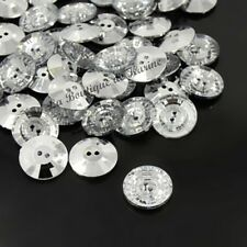 10 BOUTONS FANTAISIES STRASS TRANSPARENT 15 mm - 2 TROUS - COUTURE SCRAPBOOKING