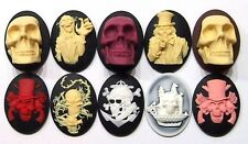 10 Different 40x30 mm Cameos, Gothic Skulls, Gun & Roses, Zombies Steampunk