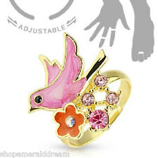 Bird with Flower CZ Adjustable Gold Plated Brass Mid-Ring Toe Ring