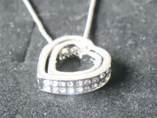DOUBLE HEART SILVER ALLOY  WITH WHITE  CRYSTAL NECKLACE ................