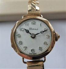 1926 9K SOLID GOLD CASED 15 JEWELLED SWISS LEVER WRIST WATCH IN WORKING ORDER