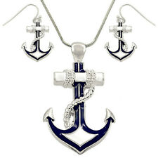 "Large Nautical Anchor Pendant Necklace and Earring Set with 24 "" Snake Chain"