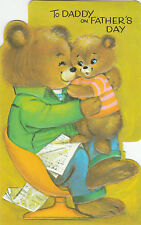Happy Fathers Day Daddy Vintage 1970s Greeting Card Cute Bears