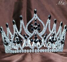 Fabulous Black Crystal Tiara Crown Wedding Bridal Beauty Pageant Party Costumes