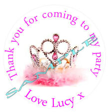 Personalised Crown Tiara inspired Labels ~ Stickers ~ Party sweet cone bags