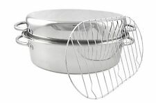 2 in 1 Heavy Duty Stainless Steel Turkey Roaster w/S/S Roasting Pan Rack & Lid