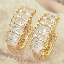 Sparkling Womens New 9k Yellow Gold Filled Graduated CZ Band Hoop Earrings