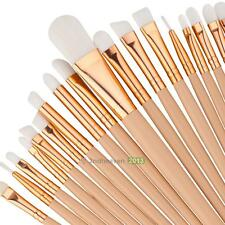 20X Beige Wood Handle Pro Makeup Brushes Set Blush Eyeshadow Eyeliner Lip Brush