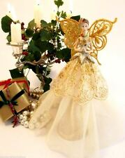 GISELA GRAHAM Christmas tree topper fairy angel traditional with gold wings
