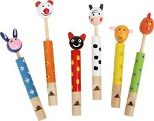 """Set di sei flauti """"Animali della fattoria"""" in legno colorato, lunghezza cm 12/18"""