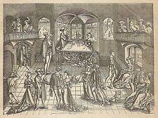 A4094 Danza di patrizi tedeschi - Incisione - Stampa Antica del 1889