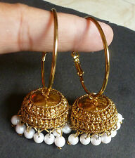 Antique Gold Plated Pearl Setting Indian Ring Jhumki Jhumka 3 cm Indian Jewelry