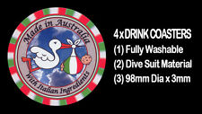 4  x MADE IN AUSTRALIA - WITH ITALIAN INGREDIENTS - BABY / ADULT DRINK COASTERS
