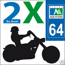 2 stickers autocollants style plaque immatriculation moto Département 64