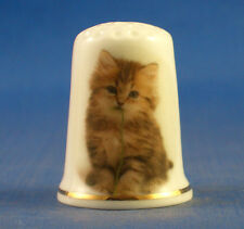 Birchcroft China Thimble -- Kitten with Wool Thread plus Free Dome Gift Box