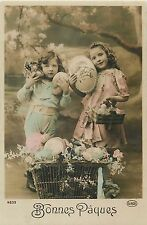 Old Easter greetings real photo postcard Jeune filles Bonnes Paques