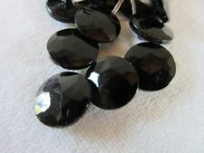 "18 Vintage Jet Black all Glass ROUND Faceted Czech Buttons Self Shank 1/2"" 13mm"