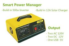 500 Watts 500w Inverter Battery Backup Power System Solar Panel Controller AC DC