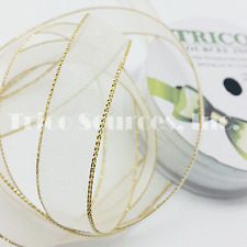 """Trico Gift Decor Organza Ribbon with Gold/Silver Edge 5/8""""(16mm)x10YDS - B4068WT"""
