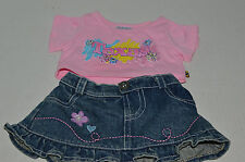 Build A Bear Clothing~Texas Pink Sequin Shirt~Blue Denim Flower Heart Skirt~G5