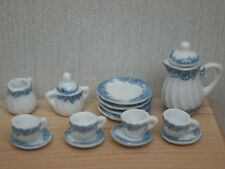 Soft Blue Tea set, Doll House Miniatures Tableware Kitchen & Dining 1.12 Scale