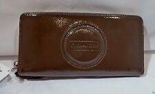 NWT COACH Z Stitch Brown Mahogany Patent Leather Accordion Zip Wallet Z49386