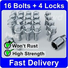 20 x ALLOY WHEEL BOLTS & LOCKS FOR SAAB 9-3 / 9-5 (M12x1.5) SECURITY NUTS [H4b]