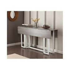 Modern Console Dining Table Drop Leaf Weathered Gray Grey  White Color  Metal