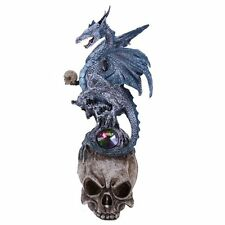 Blue Frost Mystic Dragon Perched On Skull Head Crystal Rhinestone Rock Statue