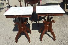 Pair Victorian Style Marble Top Tables