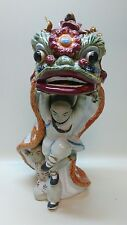 Chinese Shaolin Monk Kung Fu Lion Dragon Dance 9-1/2IN Ceramic