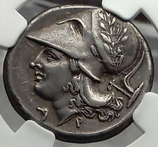 CORINTH 375BC Pegasus Athena Ancient Silver Greek Stater Coin NGC Ch XF i58291