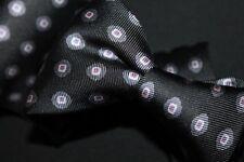 GRAY ANATOMY Etro Milano Charcoal Medallion Neat Polka Dot Macclesfield Silk Tie