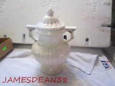 """RED WING ART POTTERY COVERED URN AS IS 8"""" ANTIQUED WITH BROWN"""