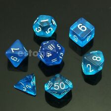 7-Dice Sided D4 D8 D6 D10 D12 D20 Magic-the-Gathering D&D RPG Poly Game Set Blue