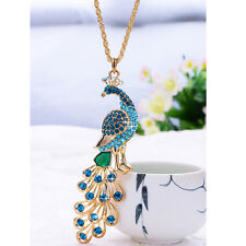 18K Gold Plated Crystal peacock Pendant Necklace sweater chain Fashion Jewelry