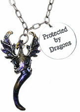 KIRKS FOLLY PROTECTED BY DRAGONS PENDANT NECKLACE SILVERTONE NEW RELEASE