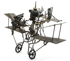 Large Vintage Safari Airplane Biplane Folk Art Steampunk Model Metal Sculpture