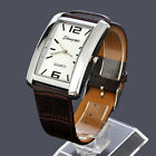 Square Steel Case White Dial Brown Leather Band Wrist Watch For Mens